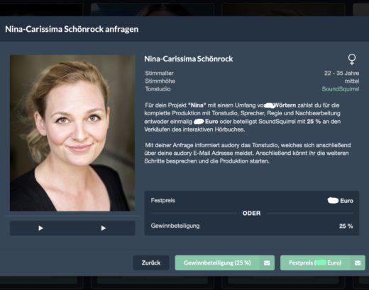 Nina-Carissima Schönrock, audory, Sprecherkartei, Hörbuch, interaktives Hörbuch