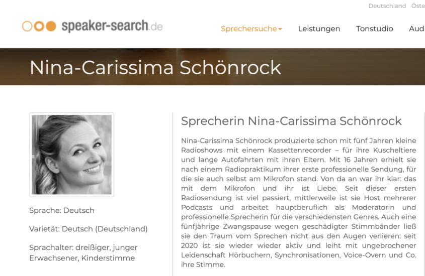 Sprecheragentur speaker-search nimmt Sprecherin Nina-Carissima Schönrock an Bord