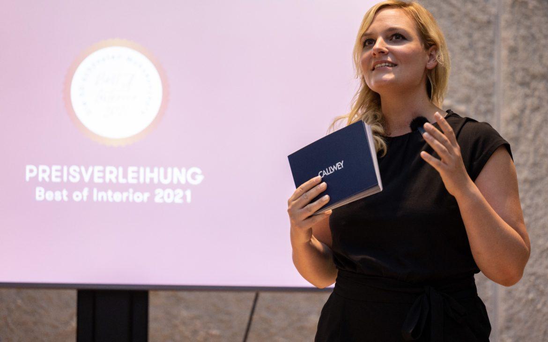 Nina-Carissima Schönrock, Moderatorin, Event-Moderatorin, Gala-Moderatorin, Moderatorin Preisverleihung, Best of Interior 2021, Callwey Verlag, München